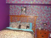 This is my legit bedroom! I painted the wall purple first ...