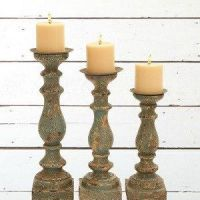 Wooden Distressed Pillar Candle Holders, Set of 3 ...