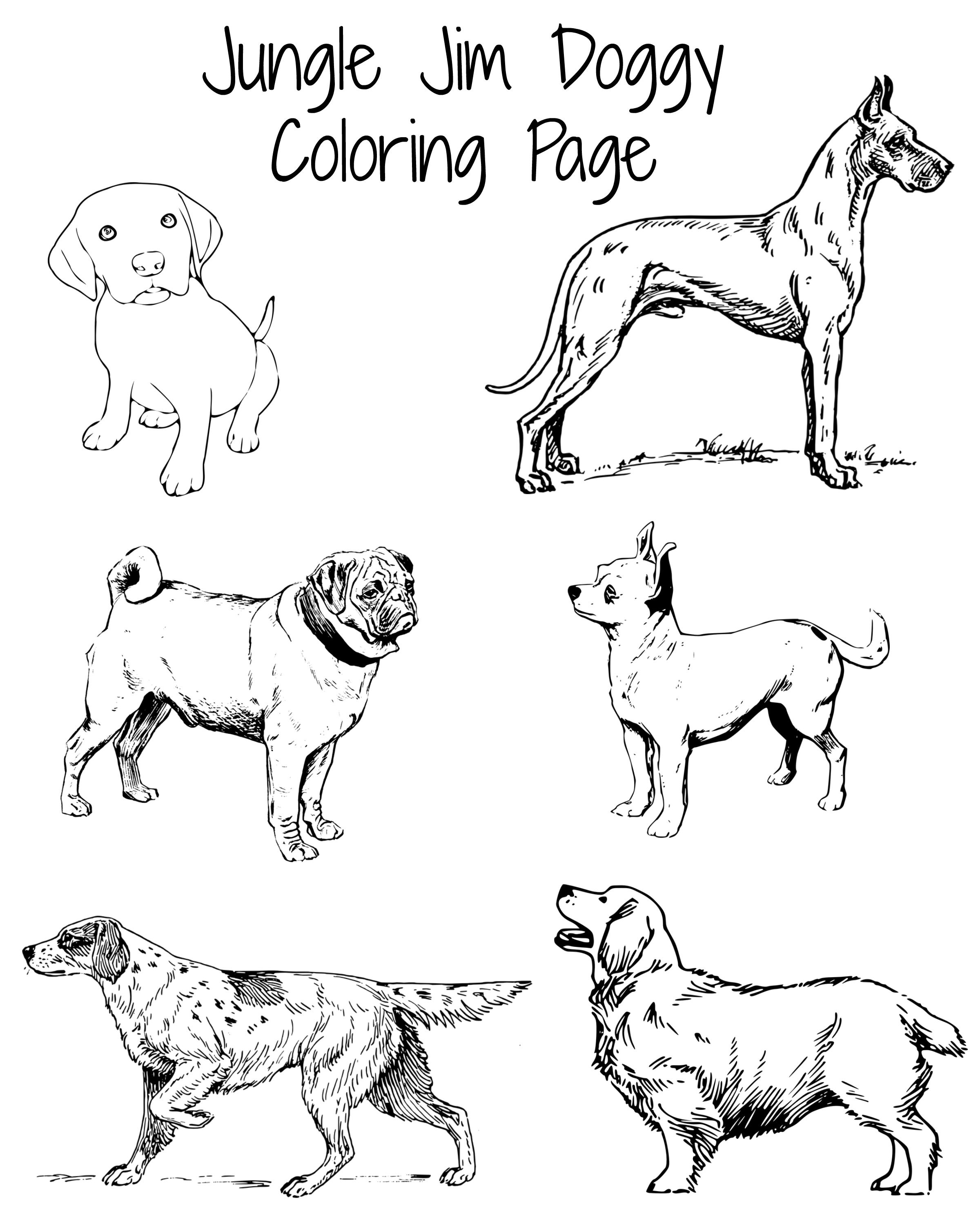 Doggy Coloring Page, perfect for the Dog Days of Summer