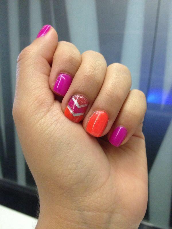 Shellac pink Orange neon short nails nails Pinterest