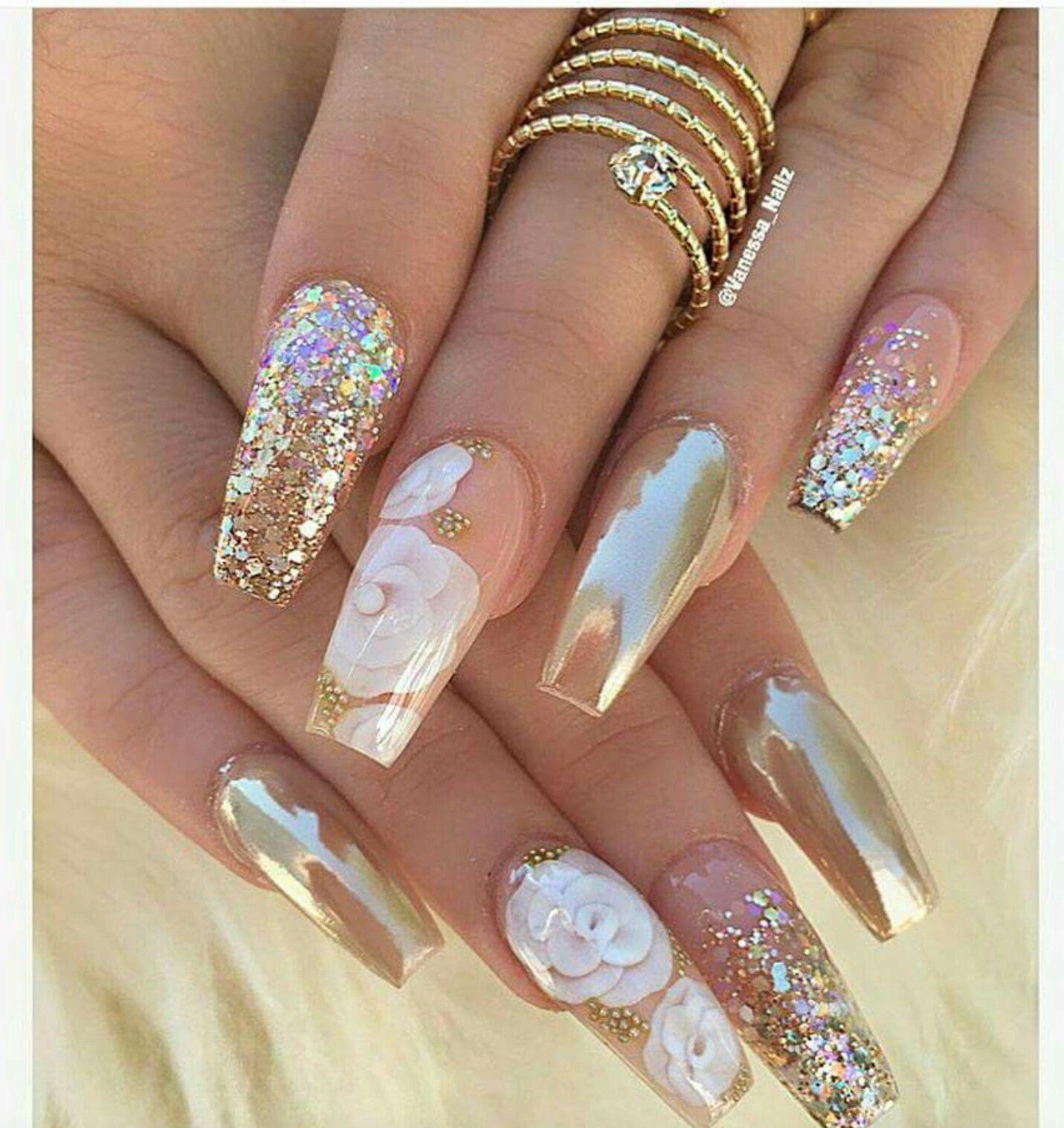 Blush Nails Coffin Champagne
