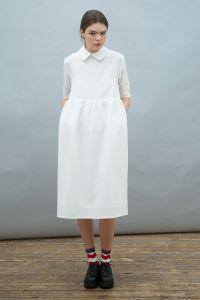 Oversized Midi Smock Dress with Collar Ivory http://www ...