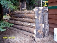 Outdoor Landscaping - Timber Retaining Wall - Natural Log ...