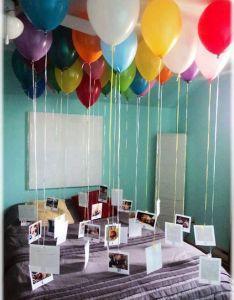 Balloons with memories on  string sweet birthday idea also sonar que te despiertan asi  llevan el la cama opcion rh pinterest