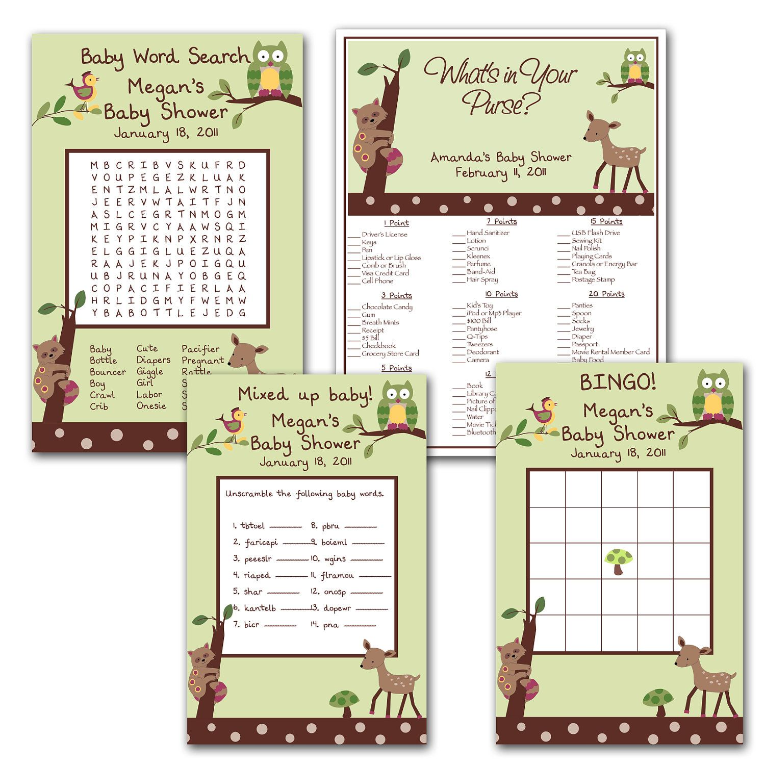 Printable Enchanted Forest Digital Baby Shower Games