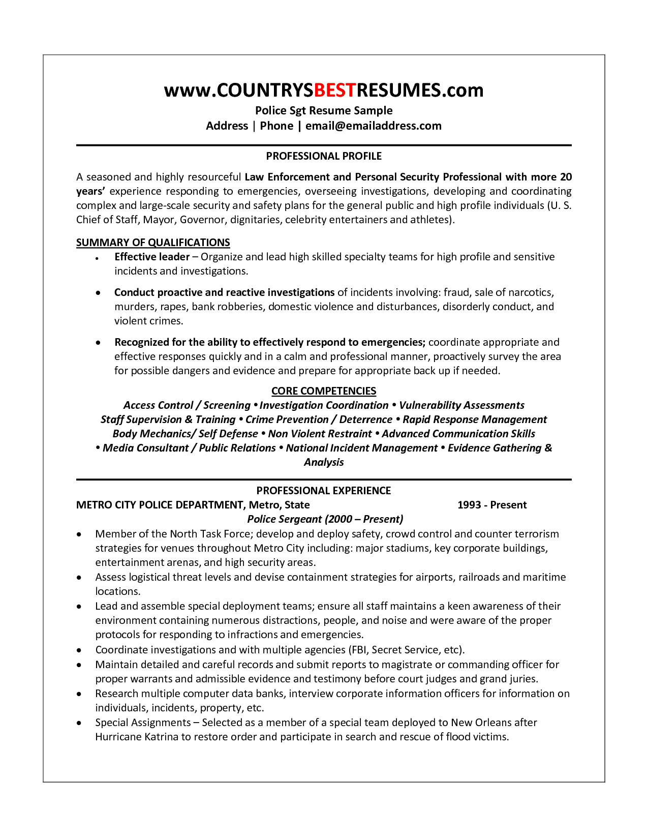 Police Officer Resume Examples Police Officer Resume Sample Http Resumecareer