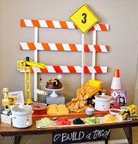 Construction birthday party table set up. Taco bar-build ...