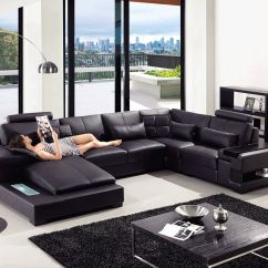 Modern U Shaped Leather Sofa Victorian Sofas Uk Sectional Furniture In Black 2320