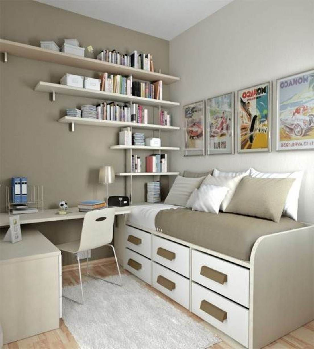 Wall Mounted Storage Ideas For Small Bedrooms Space Saving