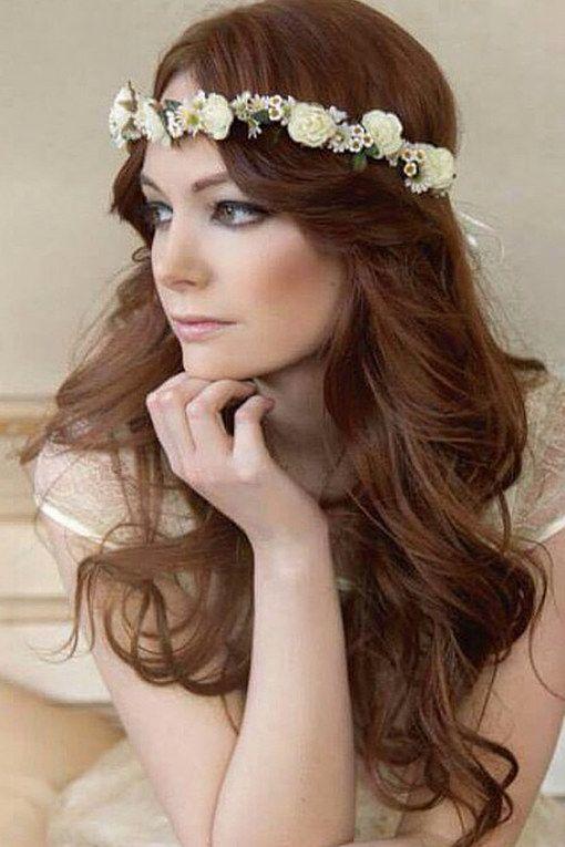 Hippie Blumen Frisuren Hochzeit Diadem  Frisur