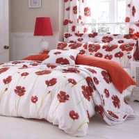 Catherine Lansfield Poppies White Poppy Red Floral Duvet ...