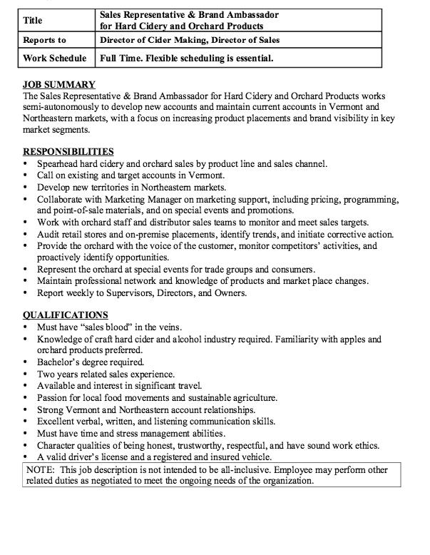 Brand Ambassador Job Description Resume Resumesdesign Com