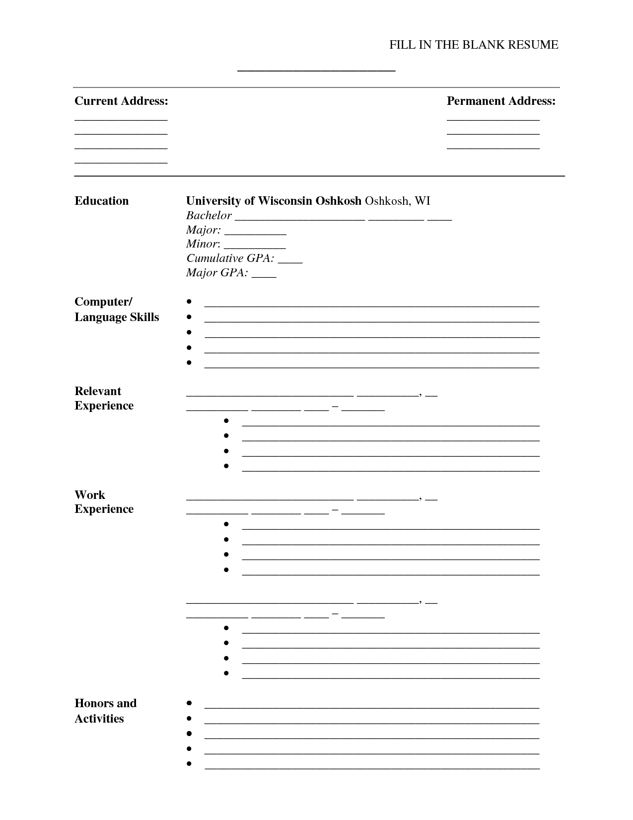 Blank Resume Form Fill In The Blank Resume Pdf Http Resumecareer