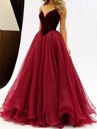 Sweetheart Neck Floor Length Maroon Ball Gown, Maroon Prom ...