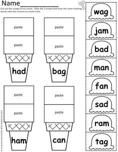 And Paste Worksheets 1st Grade on short vowel cut and