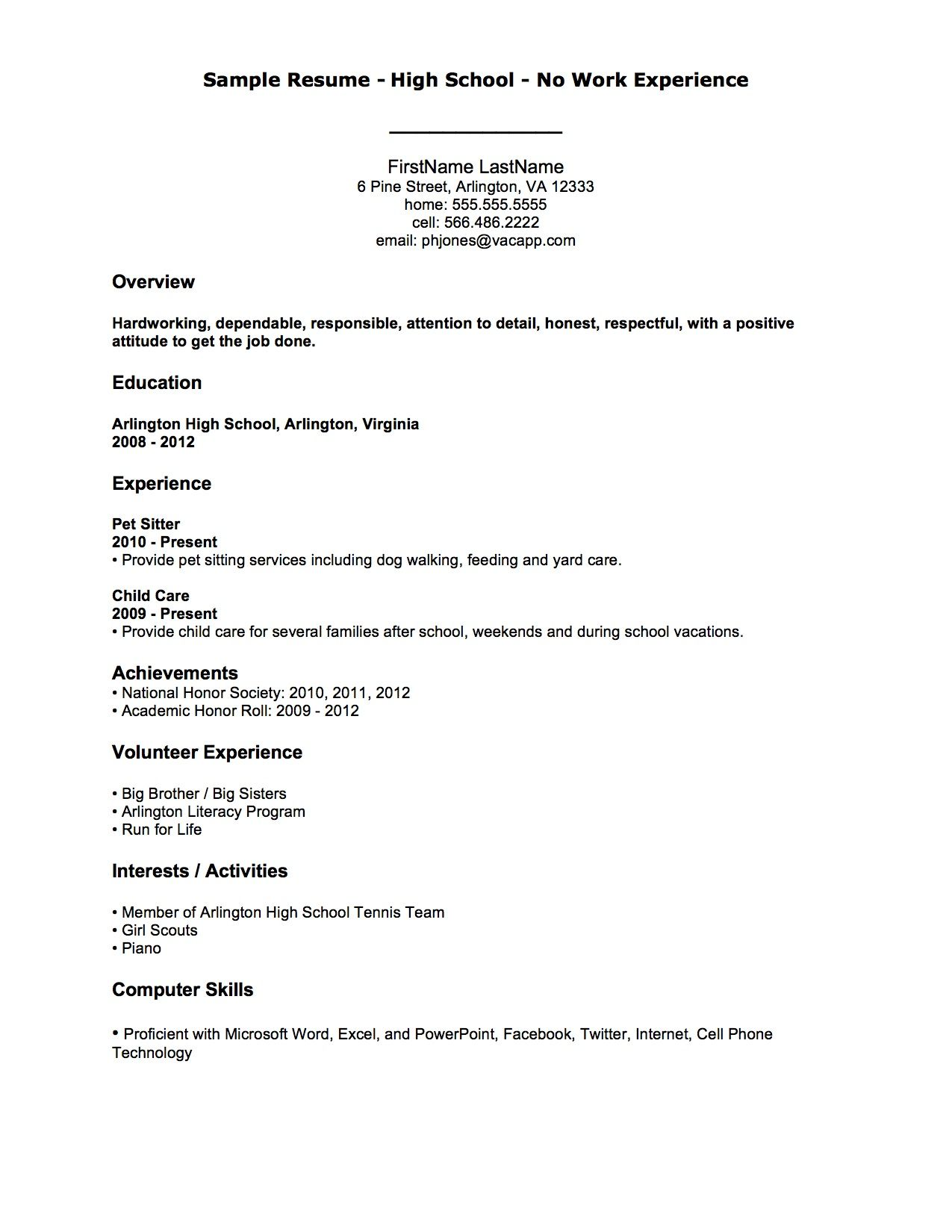 sample resume for students with no work experience