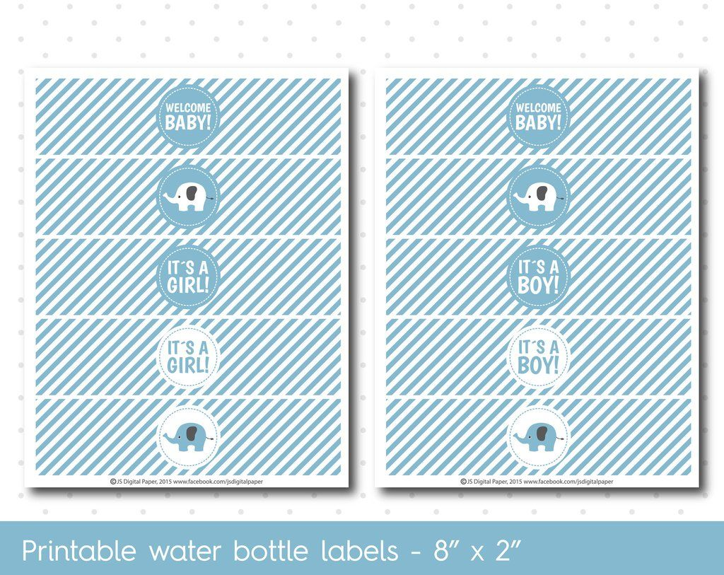 Blue Elephant Baby Shower Water Bottle Labels With Stripes Wa 32