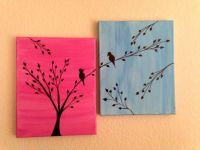 Love birds painting Acrylic painting canvas art Pink Blue ...