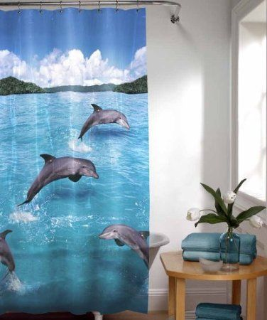 Dolphin Bathroom Accessories Set W Shower Curtain Dolphins
