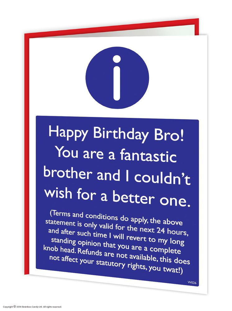 Funny Birthday Card For Brother My Birthday Pinterest