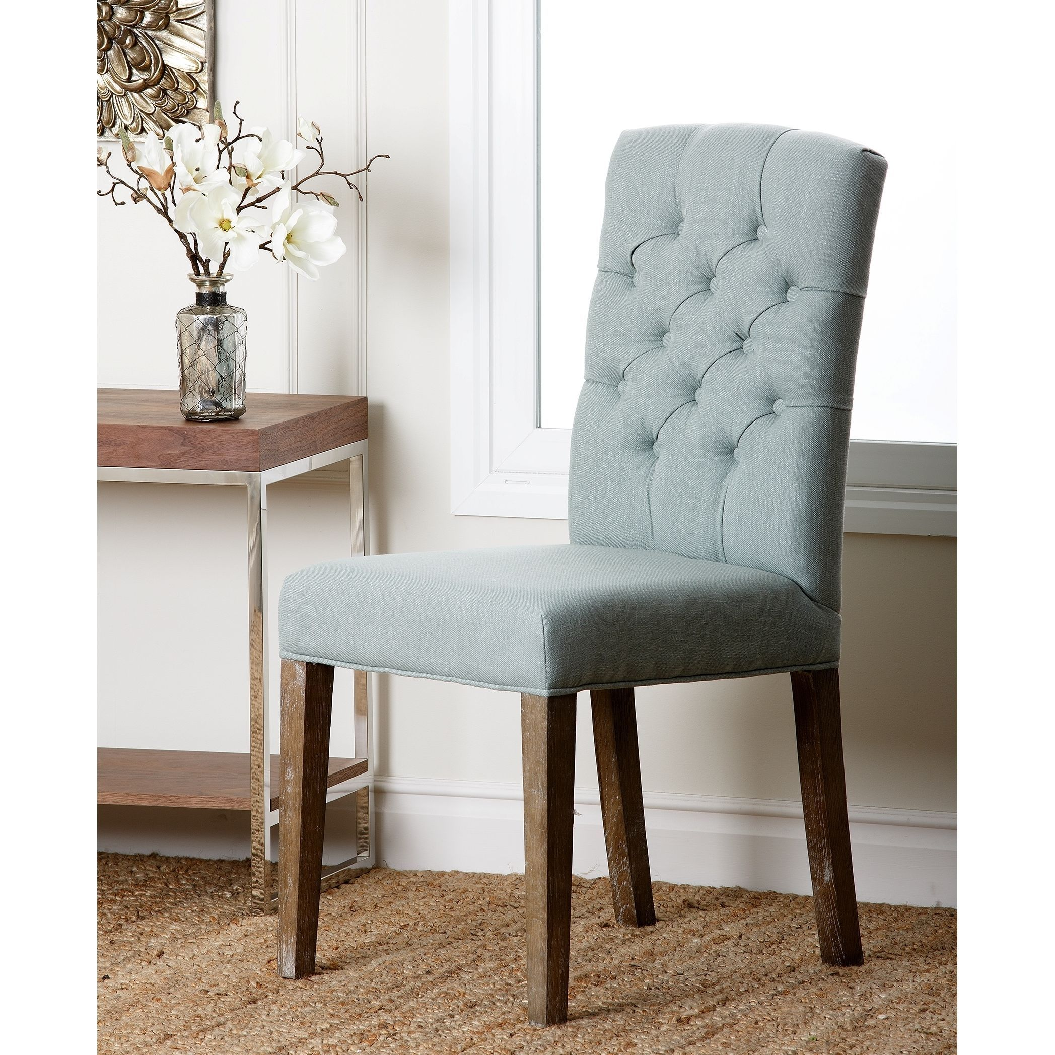 Linen Tufted Dining Chairs Abbyson Living Colin Seafoam Blue Linen Tufted Dining