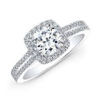 18k White Gold Split Shank Square Halo Diamond Engagement ...