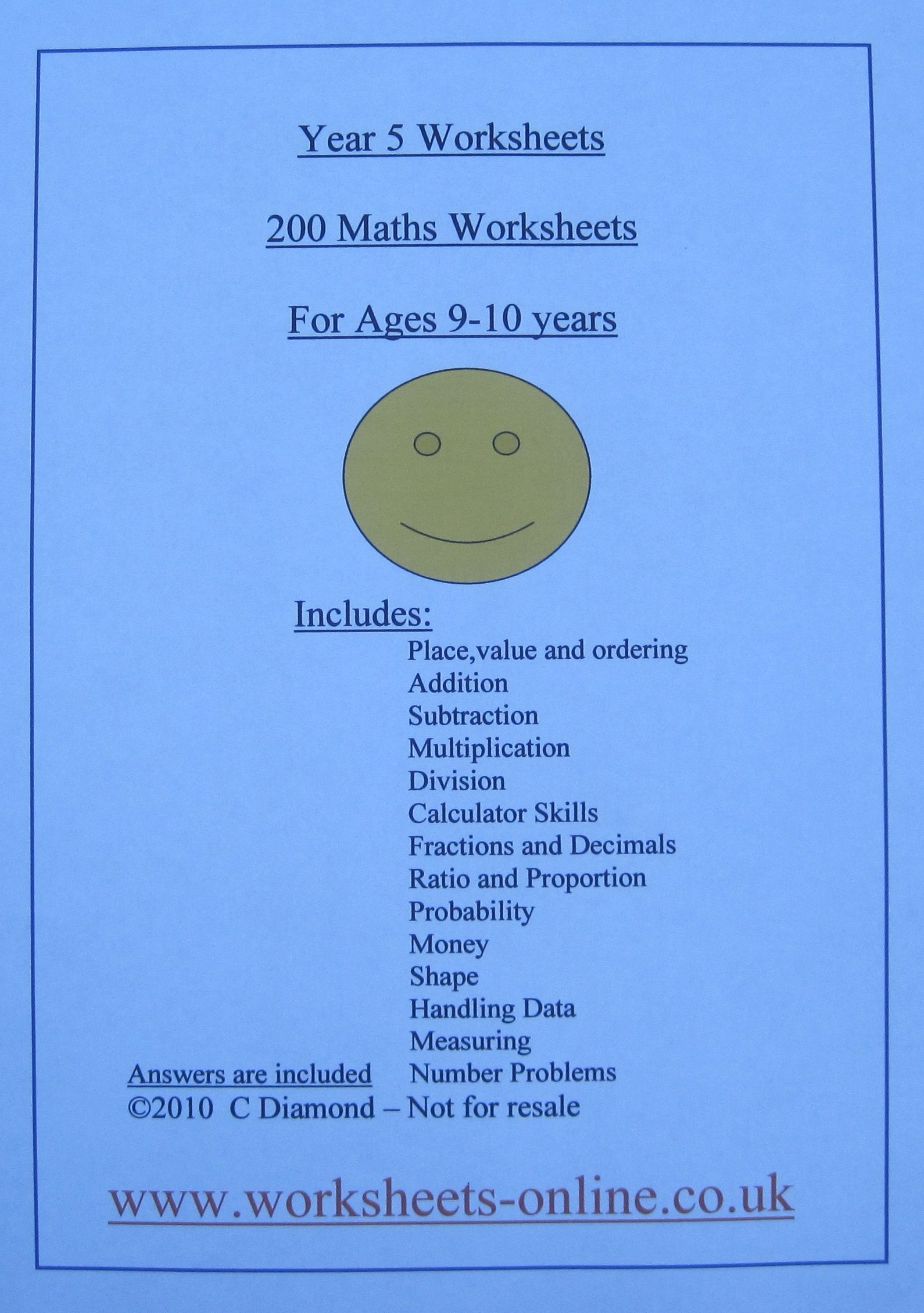 200 Year 5 Maths Worksheets For Children Aged 9 Or 10