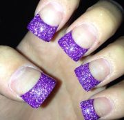 purple sparkly acrylic nails french