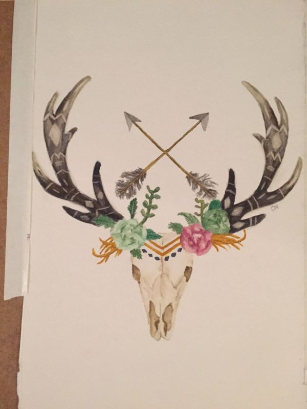 Deer Skull with Antlers and Flowers