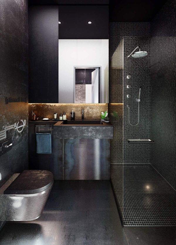 Design Industrial Style Bachelor Pads 4 Examples Bathroom