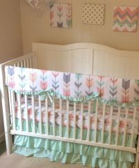 Mint Peach Coral and Gray Arrows Ruffled Crib Bedding Set ...
