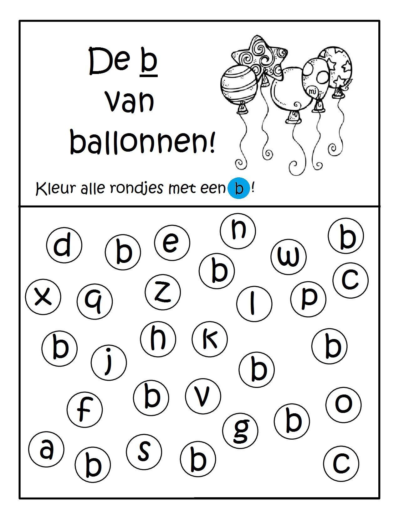Werkblad Geletterdheid De B Van Ballonnen