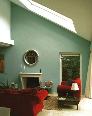 Woonkamer in groenblauw  For the Home  Pinterest  Rood