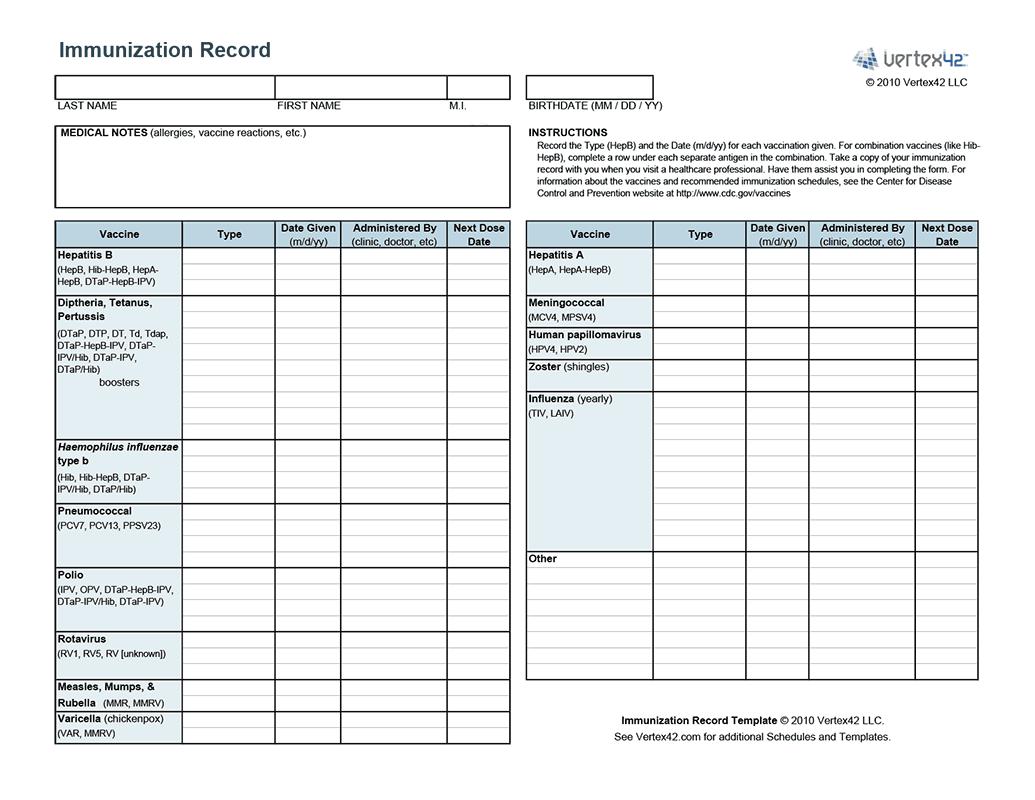 Free Printable Immunization Record From Vertex42