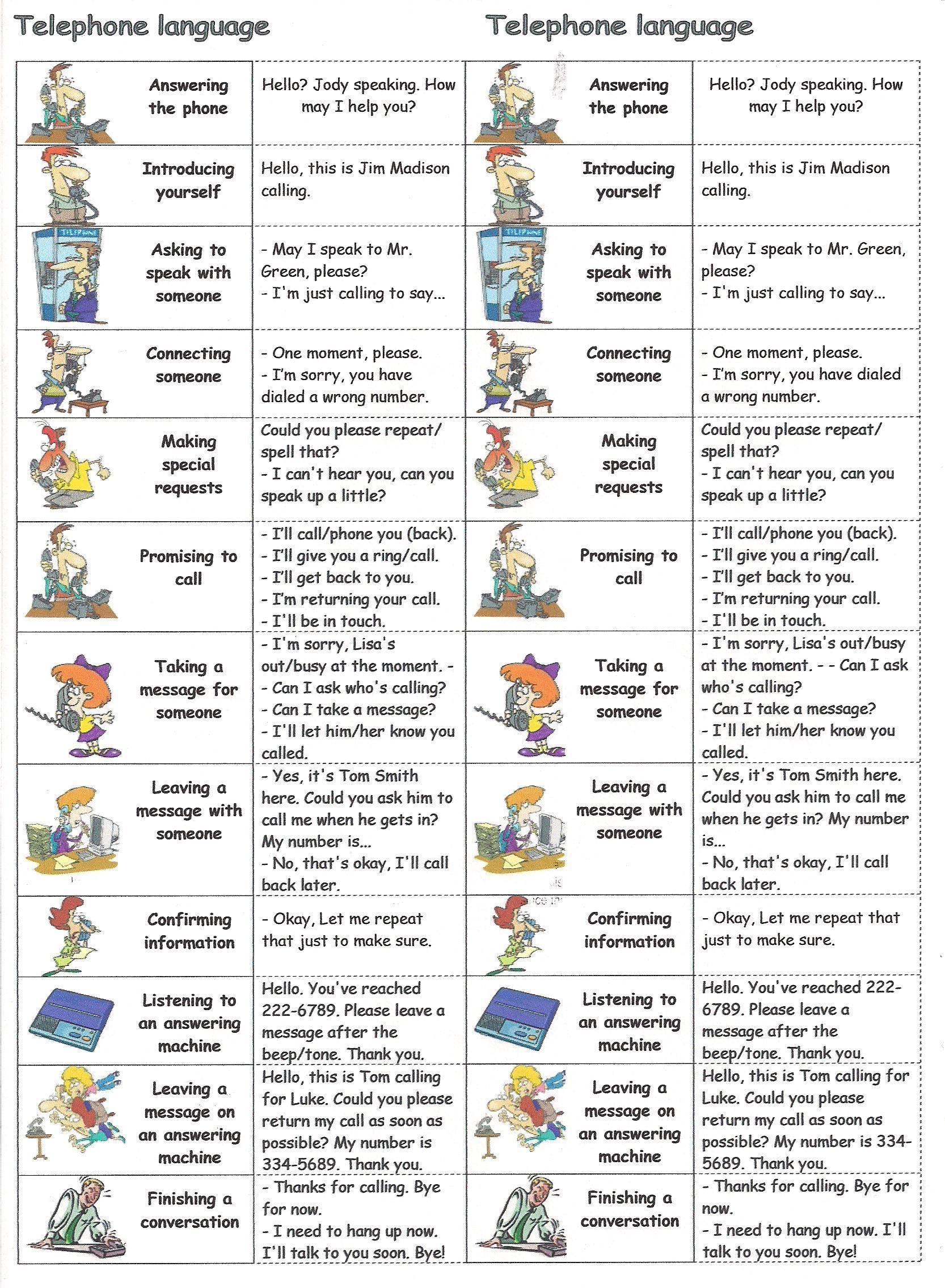 Telephone Language Learnenglish Englishlanguage