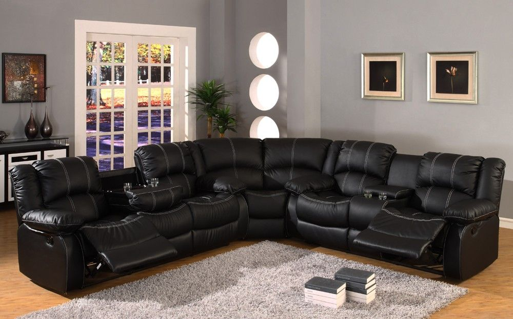 "Black Leather Reclining Sectional Sofa ""Babe We Need To Get"