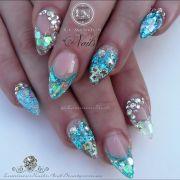 mermaid nails sculptured acrylic