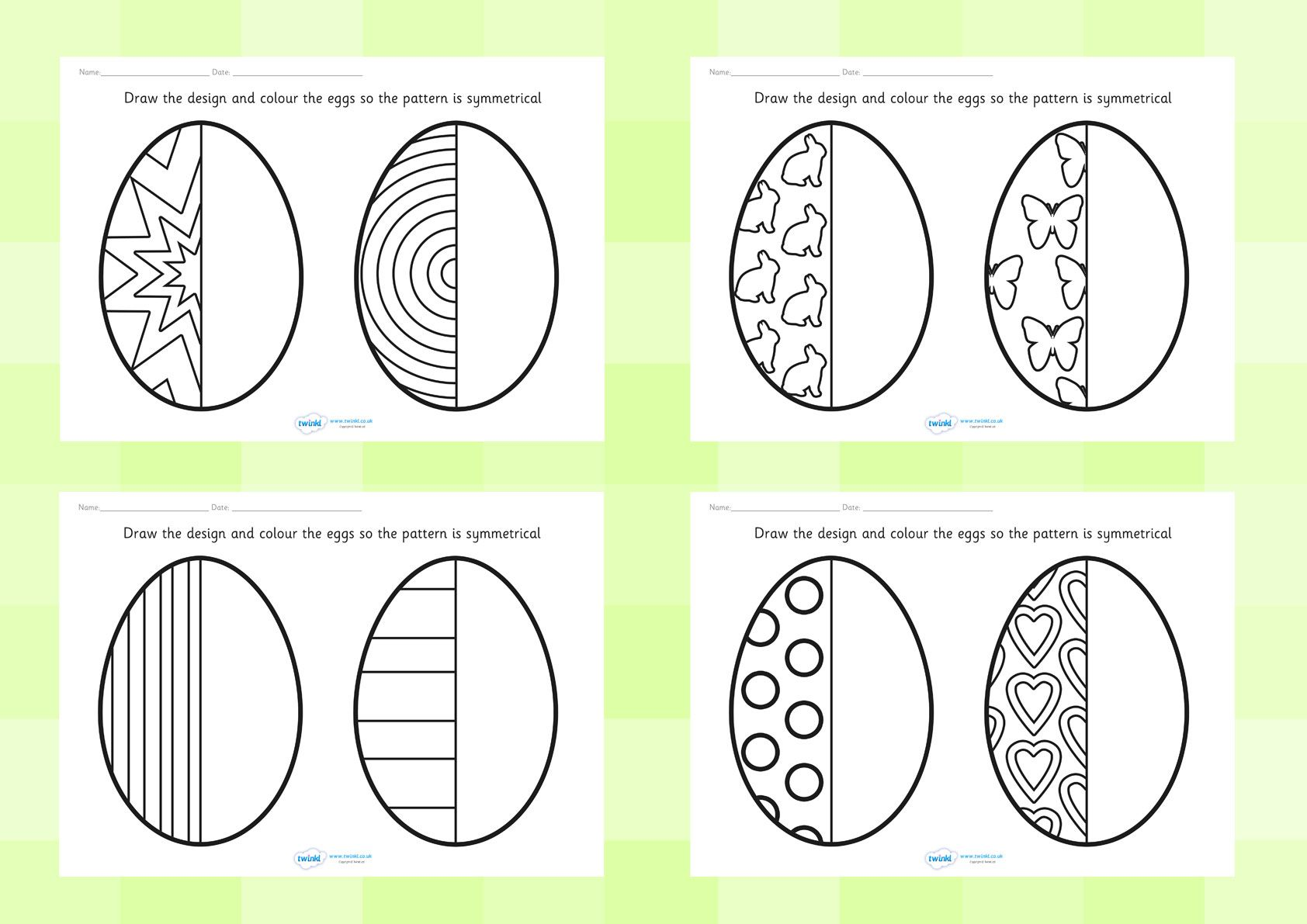 Twinkl Resources Gt Gt Easter Egg Symmetry Sheets