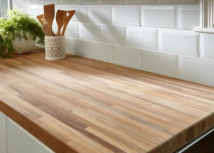 White beveled glass tile and butcher block countertop also if you could mix two styles which would they be how about mixing