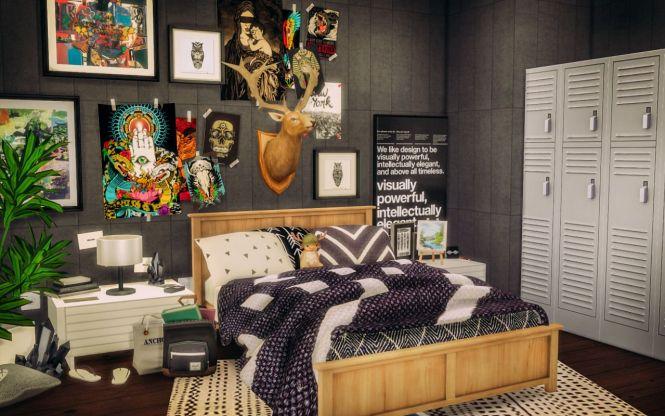 Sims 3 Rooms 4 Room Bedroom Bedrooms House Cc Bricks Blankets
