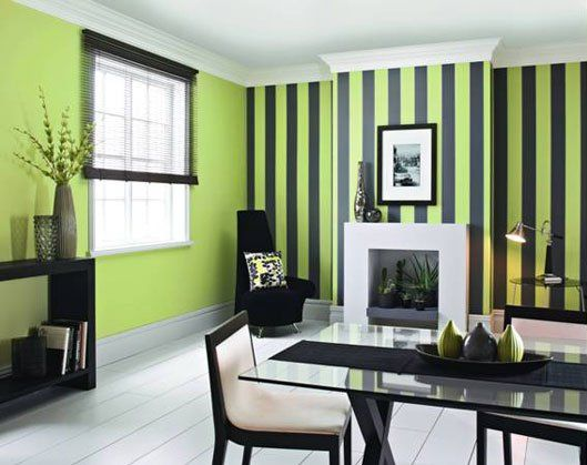 Creative Pinstripe Painted On Contrast Wall Color My Walls