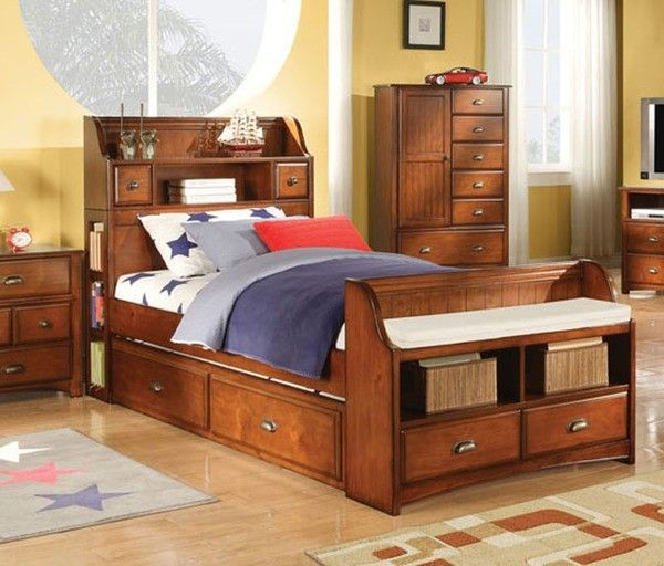 Contemporary Twin Bed Bookcase Headboards With Storage
