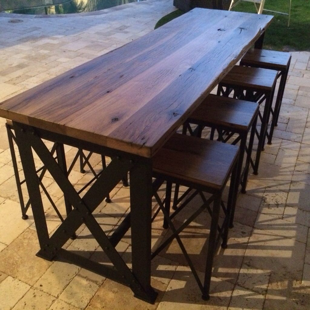 outdoor bar table and chairs modloft dining reclaimed oak ash