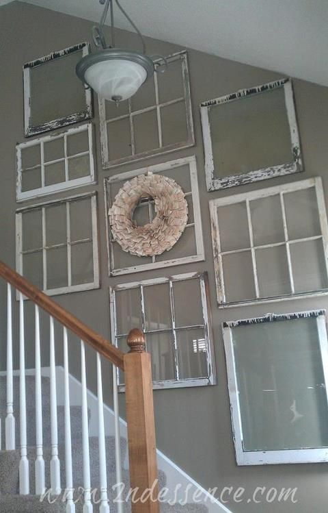 Vintage old window frames as stairway hall wall decor for cottage style home    would put pics in them like they were and something also frame white chippy shabby chic rh pinterest