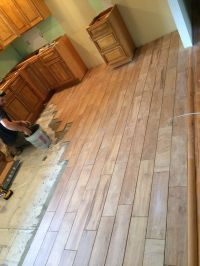 Wood tile flooring in #farmhouse kitchen remodel