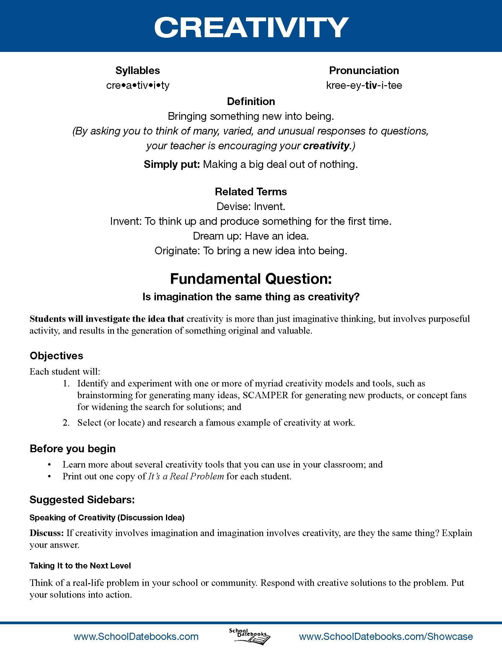 School Datebooks Character Education Lesson Plans Creativity