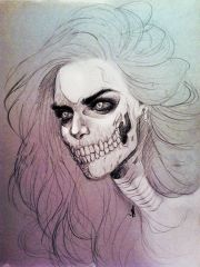 skeleton girl drawing with watercolour