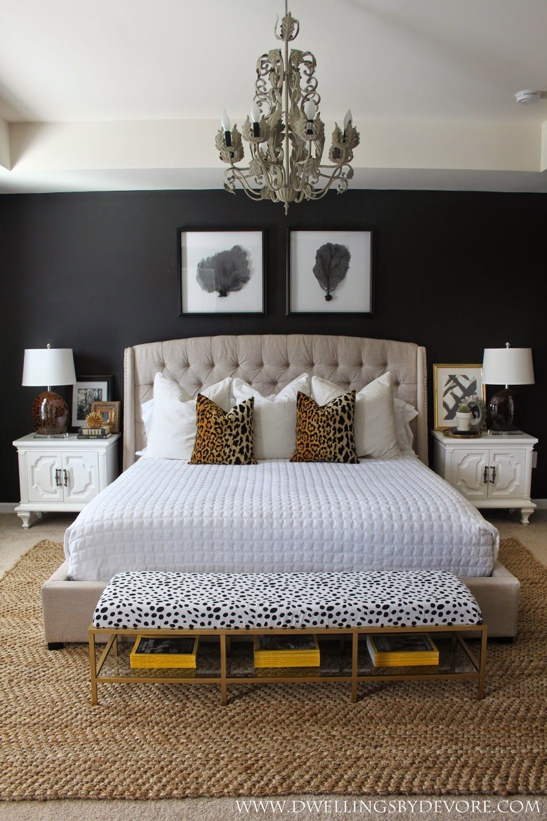 Stunning bedroom with black walls leopard accents gold and white swoon also rh pinterest