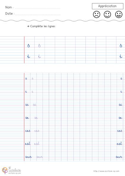 Feuille Fiche PDF Exercice d'écriture cursive cp à