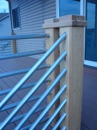 Detail of cedar and galvanized pipe railing.